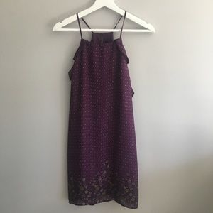 Blue Rain Purple Ruffle Racerback Dress